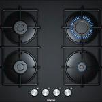 Siemens iQ30060 cm, Kendinden kumandalı gazlı ocak, sert cam, siyah EN6B6PB80O